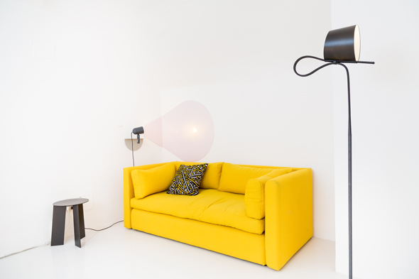 Hackney sofa by WH / Rope Trick Light by Stefan Diez