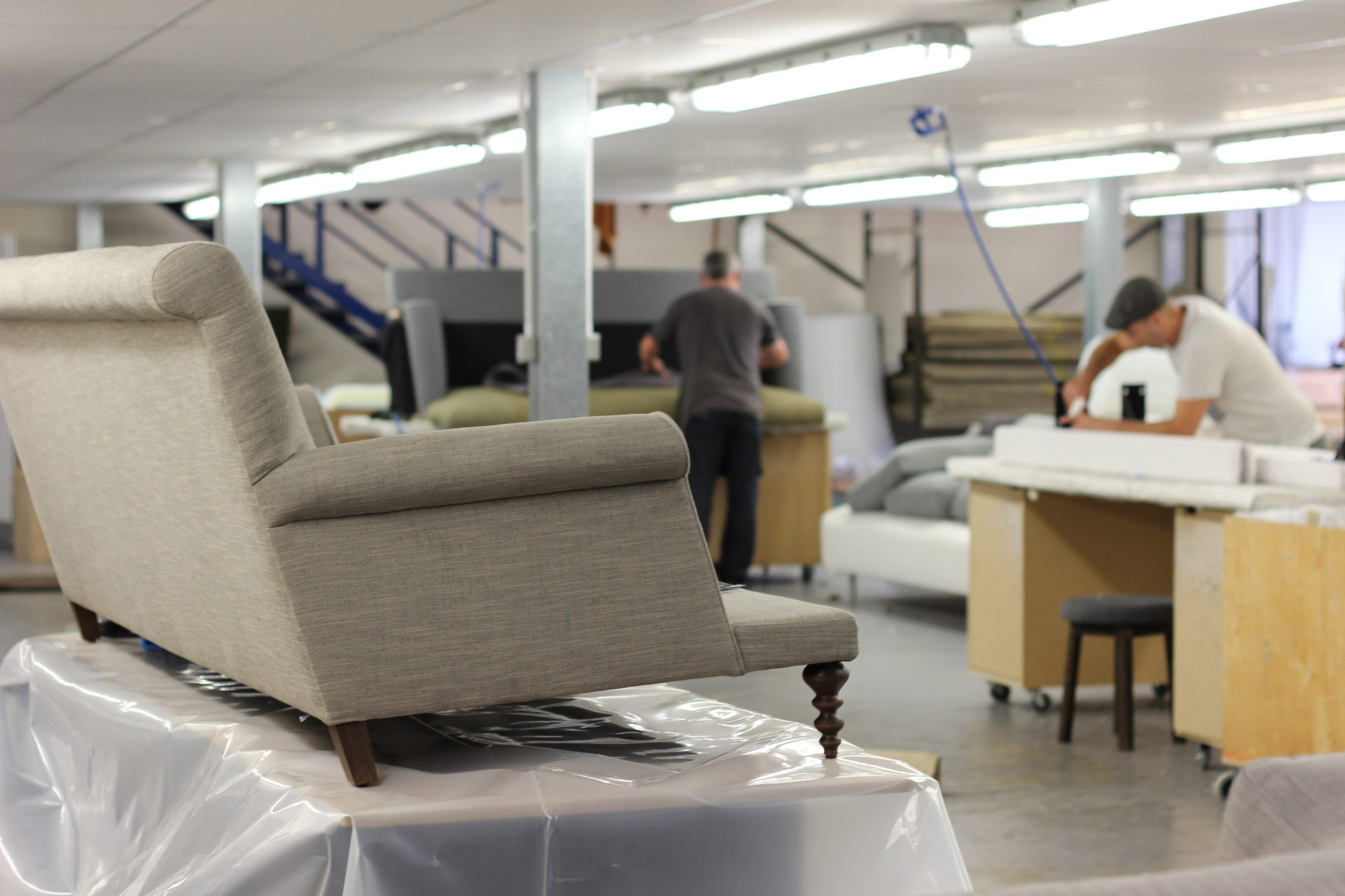Oscar sofa in the making at SCP s specialist upholstery factory in